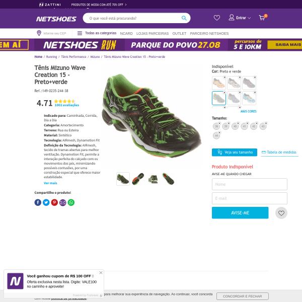 [Netshoes] Tênis Mizuno Wave Creation 15 - Masculino - 7891266492196 por R$ 339,92 - Bem Barato - Cupons Descontos Bugs e Promoções