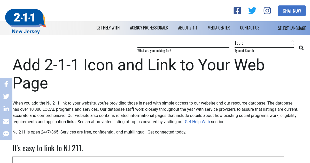 Add 2-1-1 Icon And Link To Your Web Page