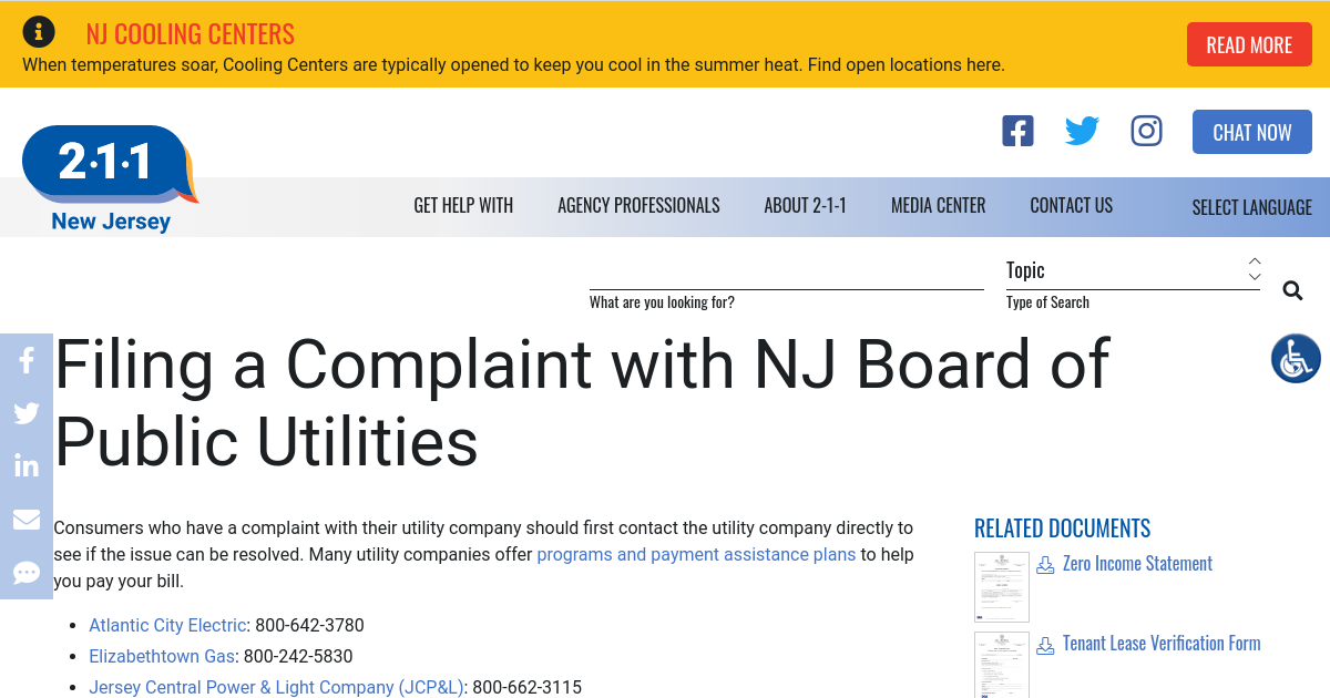 Filing A Complaint With NJ Board Of Public Utilities | NJ 2 1 1