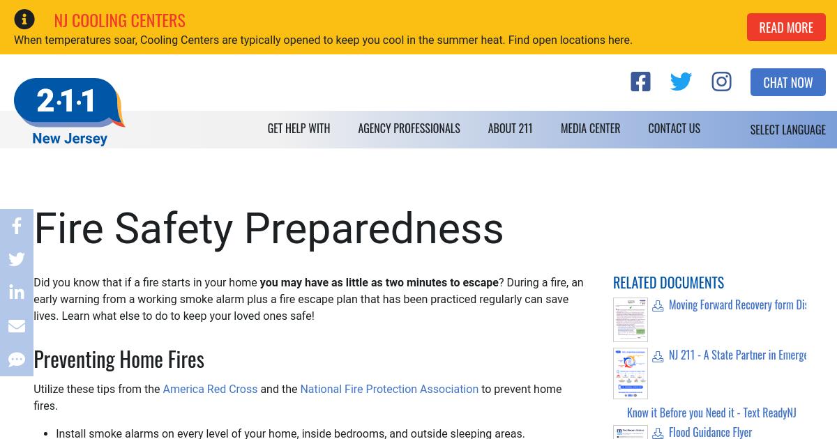 Fire Safety Preparedness Nj 2 1 1