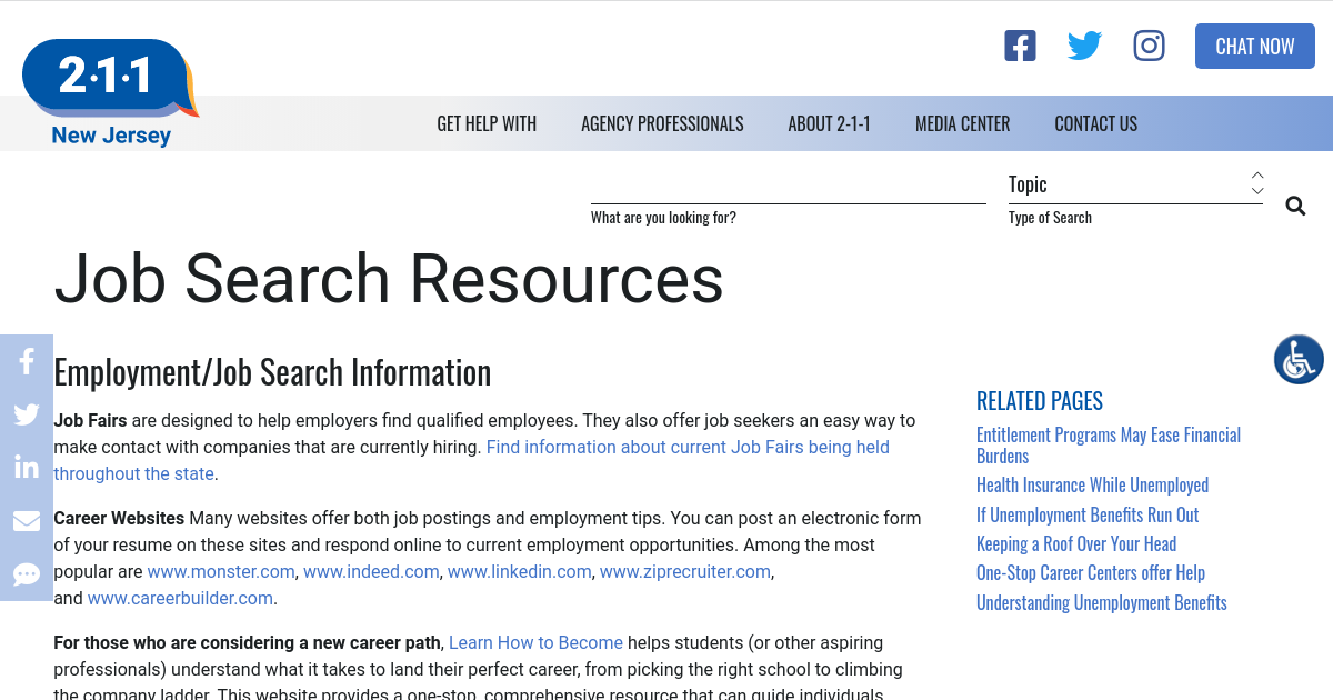 Job Search Resources | NJ 2-1-1