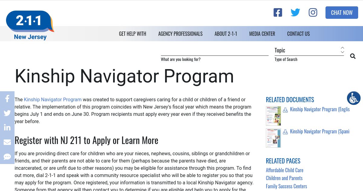 Kinship Navigator Program   NJ 2-1-1