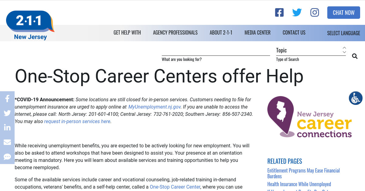 One Stop Career Centers Offer Help Nj 2 1 1