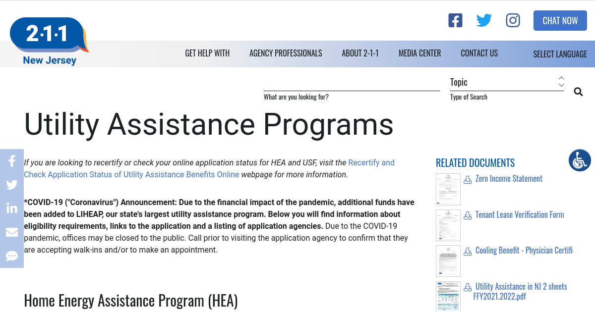 Utility Assistance Programs Nj 2 1 1