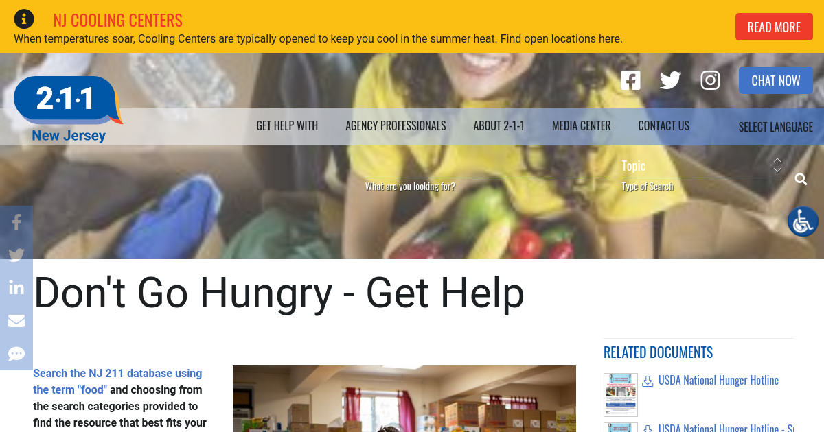 Don't Go Hungry - Get Help | NJ 2-1-1