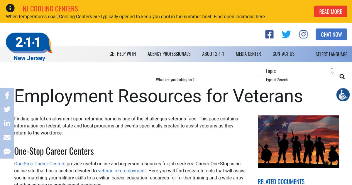 Employment Resources for Returning Vets | NJ 2-1-1
