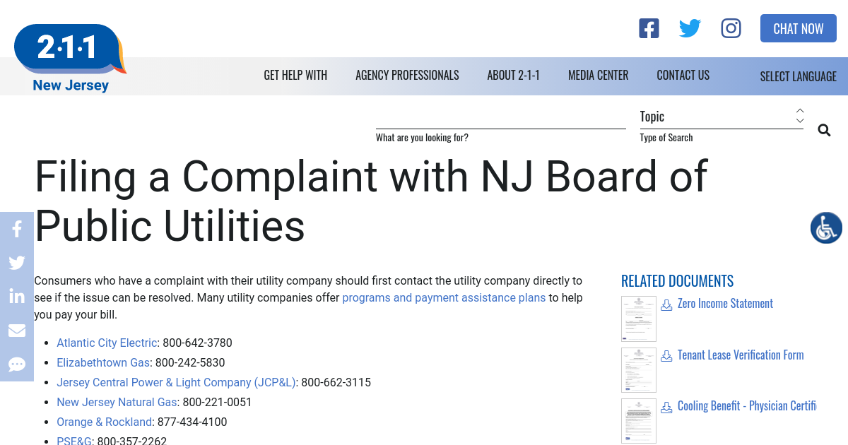 Filing a Complaint with NJ Board of Public Utilities | NJ 2-1-1
