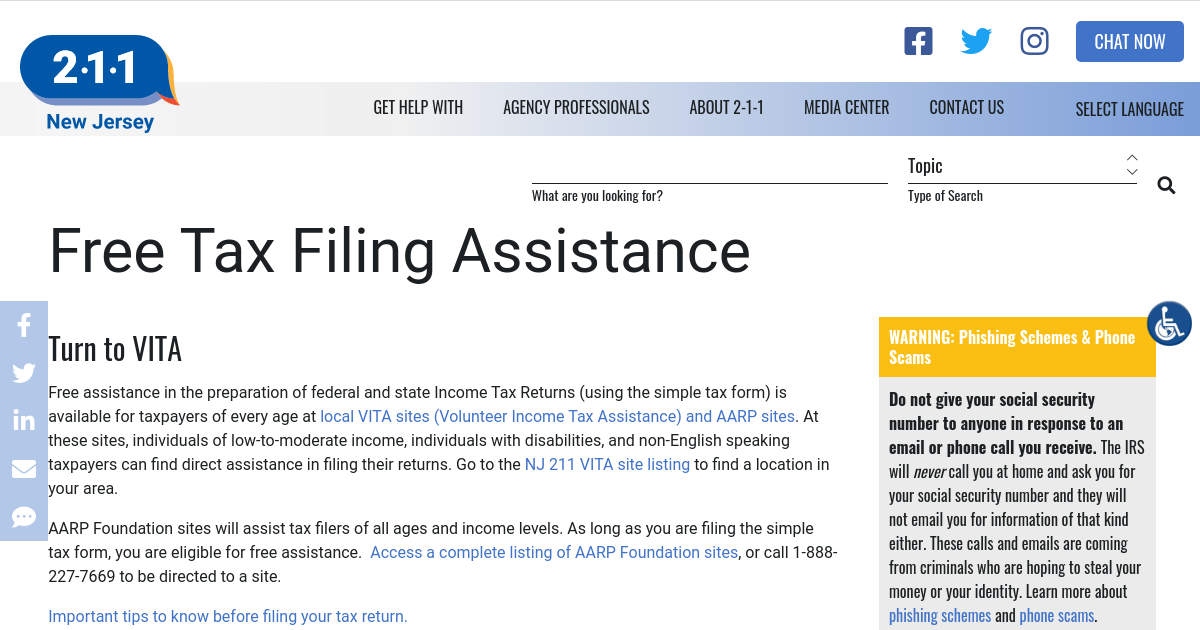 Free Tax Filing Assistance   NJ 2-1-1