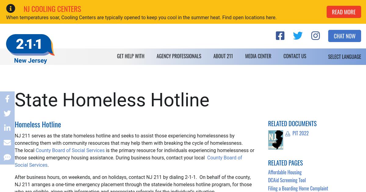 Homeless Hotlines   NJ 2-1-1