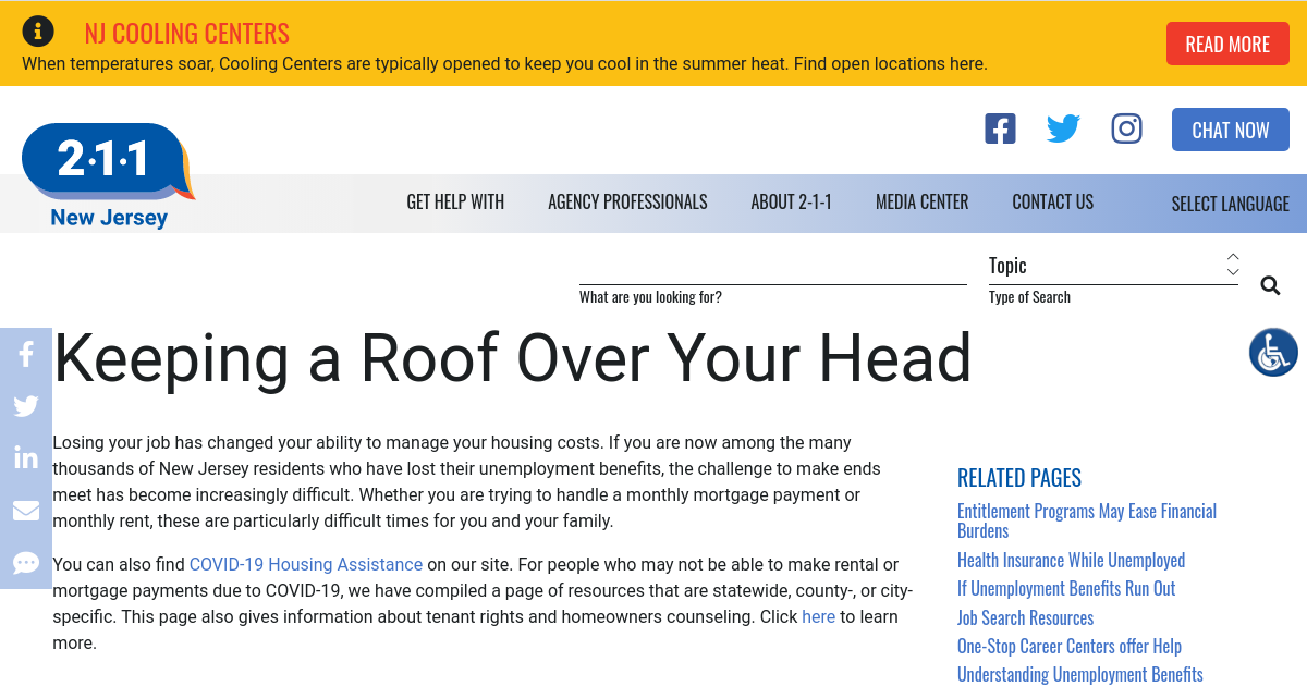 Keeping a Roof Over Your Head | NJ 2-1-1