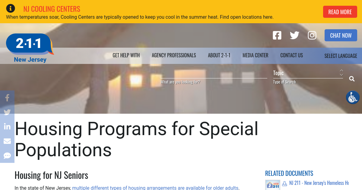 Housing Programs for Special Populations | NJ 2-1-1