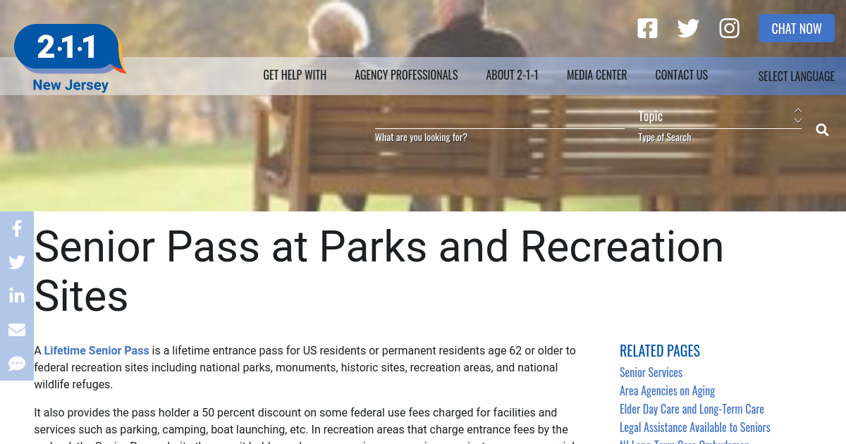 Senior Pass at Parks and Recreation Sites | NJ 2-1-1