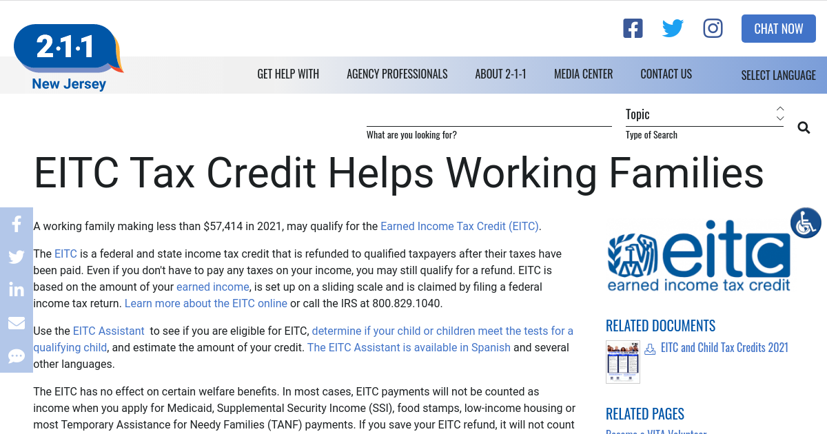 Incredible Eitc Tax Credit Helps Working Families Nj 2 1 1 Home Interior And Landscaping Ologienasavecom