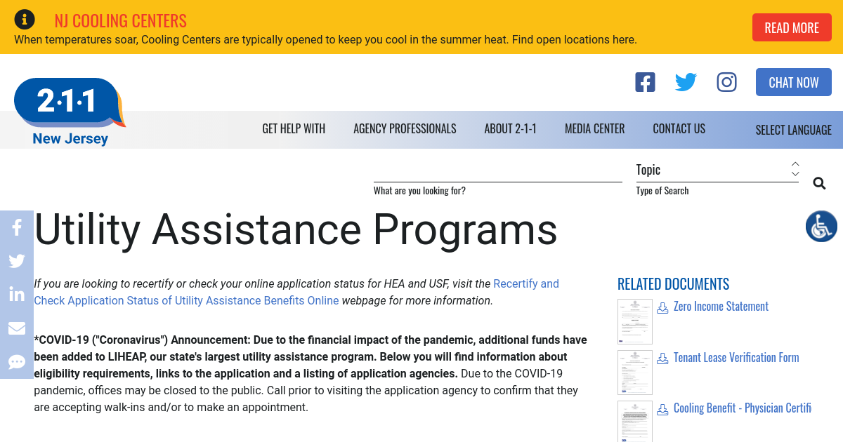 Utility Assistance Programs | NJ 2-1-1