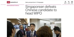 UN patent office Singaporean defeats Chinese candidate to head WIPO