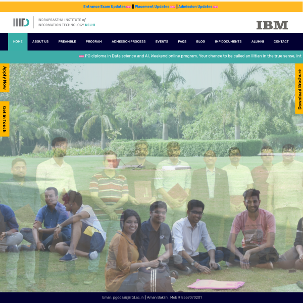 PGDDSAI.IIITD.AC.IN | IIIT-DELHI BEGINS ADMISSION PROCESS FOR PG DIPLOMA IN DATA SCIENCE AND ARTIFICIAL INTELLIGENCE (AI) IN ASSOCIATION WITH IBM LAST DATE TO APPLY IS JULY 20TH, 2020 #EDUCRATSWEB
