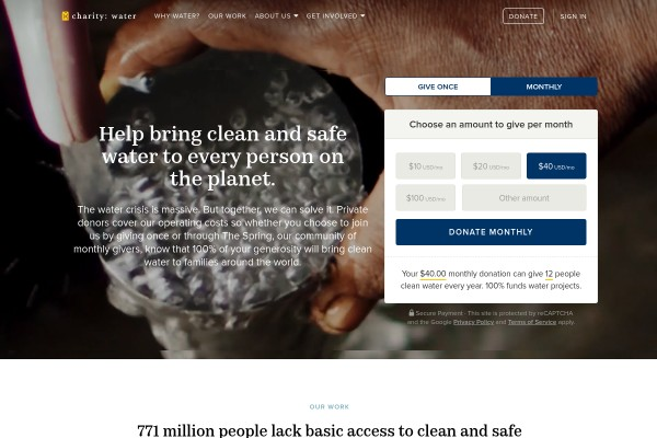 Website of Charity: Water