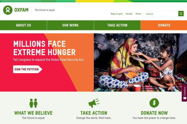 Website of Oxfam America