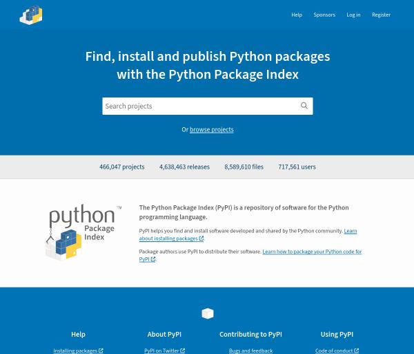 pypi.org captura de tela
