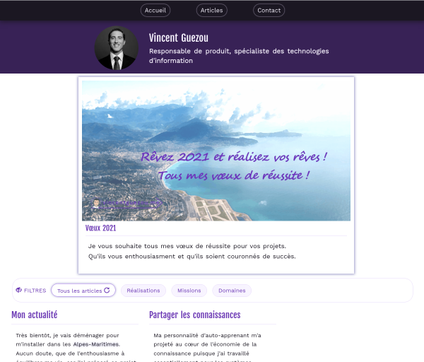 vincentguezou.me website screenshot Vincent Guezou | Responsable de produit - Technologies d'information