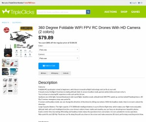 360 Degree Foldable WIFI FPV RC Drones with HD Camera (2 colors)
