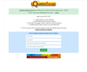 Quantum Safelist Exchange - Solo eMailBlaster. Blast Your Ad To 5,000 Per Month At NO Cost.