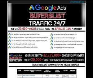 Google Ads, Buyers List-Traffic 24/7,  20,000+ Google Affiliate Marketing Buyers Clicks Per Month!