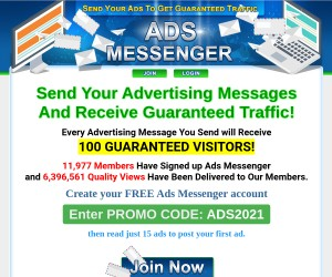 Create your FREE Ads Messenger account for 100 GUARANTEED VISITORS!