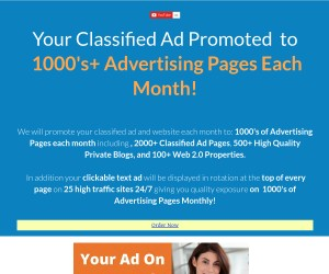 Your Classified Ad Promoted  to  1000's+ Advertising Pages Each Month!