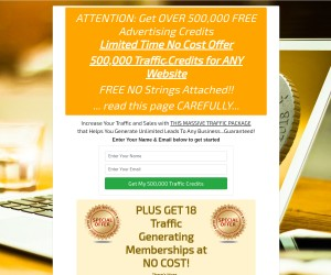 CRAZY CREDIT GIVEAWAY - 500,000 Traffic Credits for Traffic To ANY Website