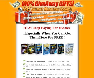 100% Give Away Internet Marketing eBooks PLUS Massive Traffic Pak