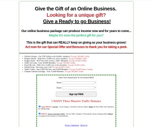 >>> Give the Gift of an Online Business >>> Massive Traffic Package Included