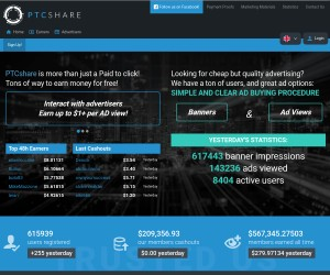 PTCShare earn 14$ DAILY free and EASY
