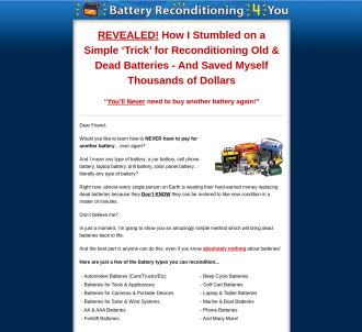 Battery Reconditioning 4 You - 100% Commission!