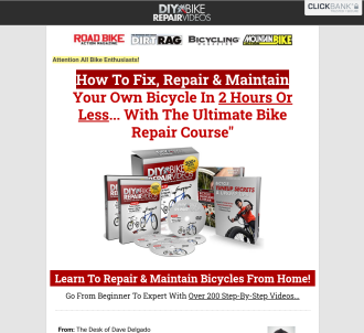 Diy Bike Repair - Earn $66.55 Per Sale With Red Hot Conversions!