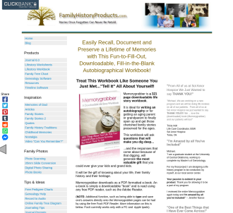 Familyhistoryproducts.com - 321 Page, Downloadable Life Story Workbook