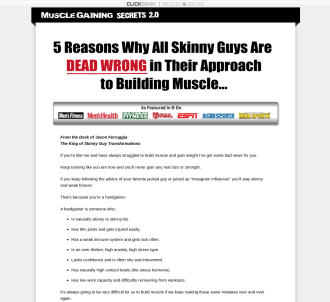 Muscle Gaining Secrets 2.0: Skinny Guy/hardgainer Niche
