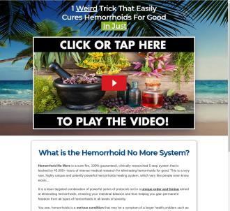 Hemorrhoid No More (tm) ~ Top Converting Hemorrhoids Offer On Cb!