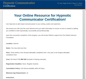 Hypnotic Communicator Certification Program