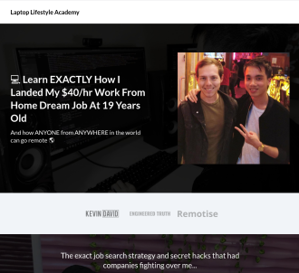 Land Your Dream Remote Job! Laptop Lifestyle Academy - Sells Itself!