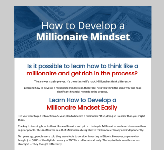 How To Develop A Millionaire Mindset - The Definitive E-book