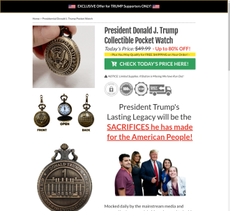 Trump Presidential Collectible Pocket Watch