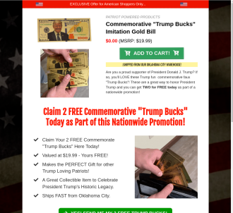Trump Bucks - Commemorative Faux Gold Trump Bills