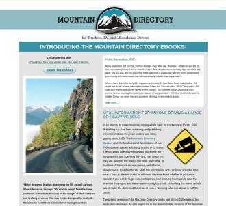 Mountain Directory: A Guide For Truckers, RV And Motorhome Drivers