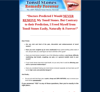 Tonsil Stones Remedy Forever ~ Brand New With A 11.2% Conversion Rate!
