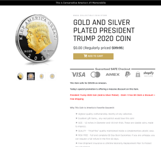 Trump 2020 Gold Plated Coin - Yuuuge Roi!