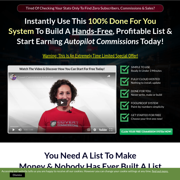 Covert Commissions is a completely done for you System