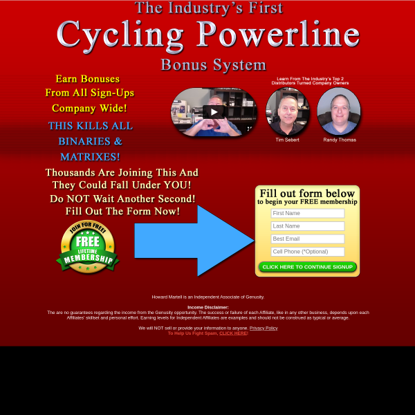 The Industry's First Cycling Powerline that pays on the entire efforts of all members