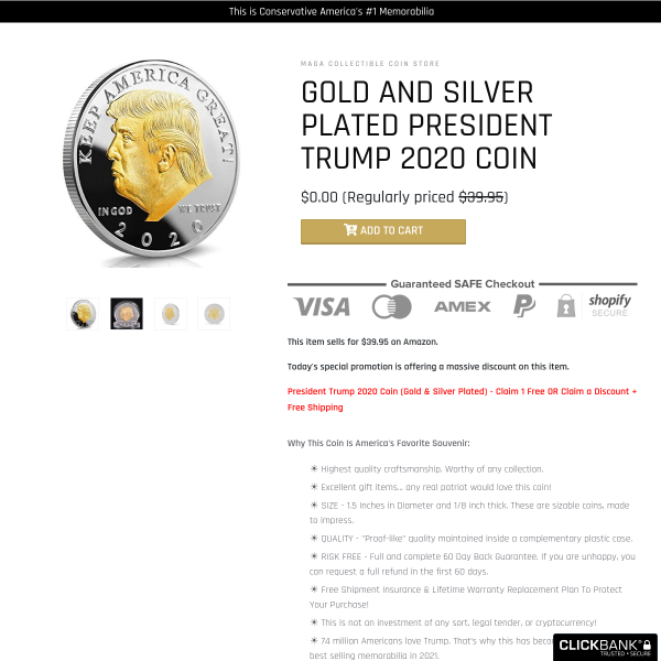 President Trump 2020 Coin (Gold & Silver Plated
