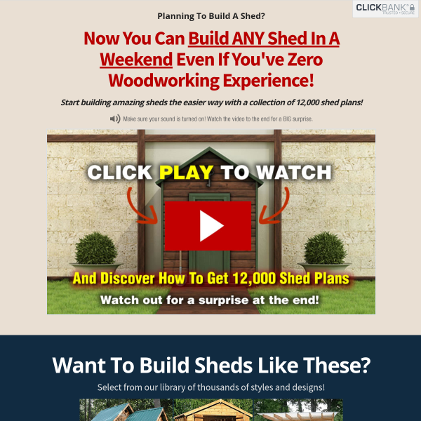 Build sheds easily with this collection of 12,000 plans